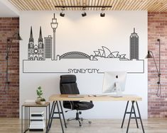 The Sidney Skyline Wall Decal is ideal for quickly and easily transform your walls, doors, windows, mirrors, ceilings or any smooth surface. Wall Stickers, Wall Decals, Daughters Room, Vinyl Wall Art, New Wall, Textured Walls, Modern Decor, Paris Art, Colors