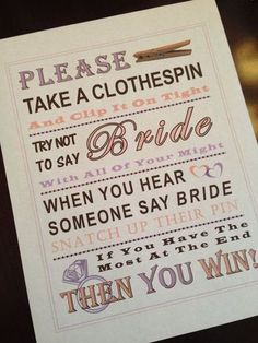 Bridal Shower Game: Don't Say Bride by PinkFlamingoParties on Etsy Source by lisaaimone Wedding Shower Games, Tea Party Bridal Shower, Wedding Games, Wedding Ideas, Bridal Showers, Wedding Decor, Rustic Wedding, Wedding Venues, Pink Flamingo Party