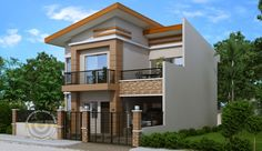 Modern house plan like Dexter model is a 4 bedroom 2 story house featured by pinoyeplans. Three meters from the front boundary or fence is a small porch which opens to the living room and all the way to the dining and kitchen. Two Story House Design, 2 Storey House Design, Bungalow House Design, House Front Design, Small House Design, Modern House Design, Modern Houses, Design For Small Bedroom, Four Bedroom House Plans