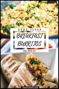 Looking for an easy vegan breakfast? These vegan breakfast burritos are full of cheesy, potato-y, tofu scramble goodness! Plus, you can make them ahead of time and freeze them for your convenience! Tofu Breakfast, Frozen Breakfast, Vegetarian Breakfast, Vegan Breakfast Recipes, Vegan Recipes, Vegan Breakfast Burritos, Vegan Burrito, Tofu Scramble, Vegan Freezer Meals