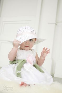 6 month old baby girl in easter dress | holly cromer photography