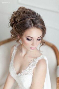 elegant wedding makeup and wedding updo hairstyle
