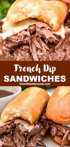 *NEW* Drippy, saucy, tender, juicy -- we all know and love French Dip Sandwiches, and now we can make them right at home! Let's whip up a scrumptious dinner! #FrenchDipSandwich #Sandwich #ChuckRoast #Crockpot Best Sandwich Recipes, Best Beef Recipes, Lamb Recipes, Lunch Recipes, Easy Dinner Recipes, Easy Family Dinners, Family Meals, French Dip, Food Dishes