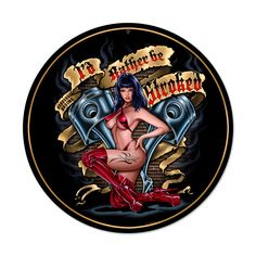 From the Steve McDonald licensed collection, this Stroked round metal sign measures 14 inches by 14 inches and weighs in at 2 lb(s). We hand make all of our round metal signs in the USA using heavy gauge american steel and a process known as sublimation, where the image is baked into a powder coa...