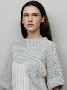subtle color block and texture blocked short sleeved sweater - love!  Closed Denim Pre-Fall 2015 Lookbook