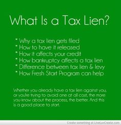 What Is a Tax Lien? The impact of a tax lien on your financial life can be extensive and long-lasting. So whether you already have a tax lien against you, or you're trying to avoid one at all cost, the more you know about the process, the better. And this is a good place to start. #taxes #taxlien #credit