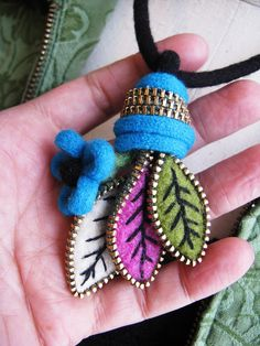 Felt leaf and zipper pendant by woolly  fabulous, via Flickr