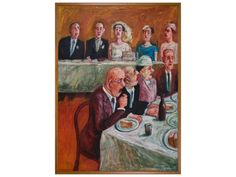 Wedding breakfast, date unknown, Bryan Dew, (b.1940, d.2006), purchased by Friends of Hawke's Bay Cultural Trust, collection of Hawke's Bay Museums Trust, Ruawharo Tā-ū-rangi, 2008/5 Napier New Zealand, New Zealand Art, Wedding Breakfast, Museum Collection, Mtg, Exhibit, Museums, Trust, Culture