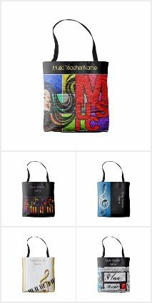 Check out these trendy tote bags for music teachers which can be personalized. These are so cool, much nicer than the all too common 'red apple for teacher' designs! Give your teacher something fashionable that they will love that they use in and out of school! They will love it!! #teachergifts #teachers #musicteachers #pianoteachers #pianist #musiciangifts