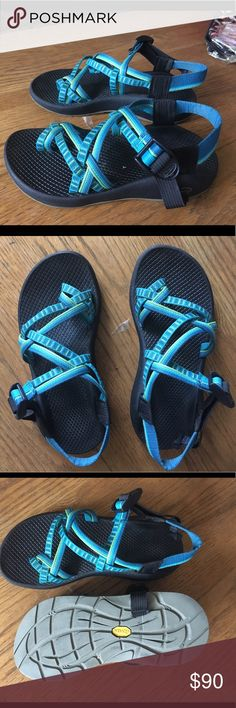 Chaco sandals Green and blue Chaco sandals, only been worn once and it perfect condition. Chaco Shoes Sandals