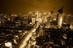#buildings #city #cityscape #downtown #evening #glow #hdr #indonesia #jakarta #night #reflections #sepia #skyscrapers #urban