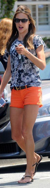 Alessandra Ambrosio: Shirt – Whetherly  Belt – Hermes  Shoes – DV by Dolce Vita