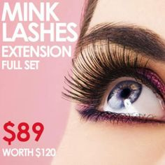 Mink Eyelash Extensions - Full Set  They say eyes are the windows to your soul. So make your peeps pop with a full set of Mink lashes.   $89 for full set of mink lashes (up to $120 in value)  #Crescent #Japanese #beauty #salon #Melbourne