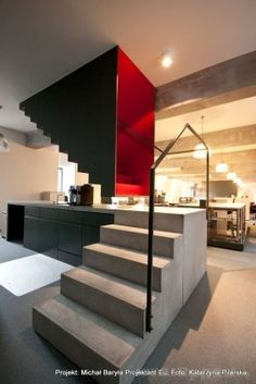 A bold idea integrating a concrete counter top into stair treads