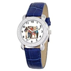 """Disney Kids' D2112S087 Tween High School Musical """"Shimmer"""" Blue Leather Strap Watch Disney. $21.46. Quality and precise Japanese-quartz movement. High school musical dial surrounded by a Rhinestone-accented bezel and covered by Durable mineral crystal. Water-resistant to 99 feet (30 M). Watch fits a girl or a woman. Blue leather strap with buckle. Save 57% Off!"""