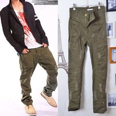 Male 2012 Army Green multi-pocket splash-ink hole pants casual trousers 710 on AliExpress.com. 5% off $29.38