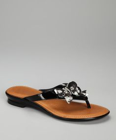 Take a look at this Black Metallic Floret Sandal by Luisa D'Orio on #zulily today!