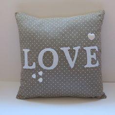 LOVE cushion by LennyLou on Folksy