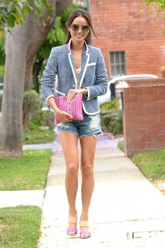 Our #SS13 Hana Sandal spotted on the lovely Jamie Chung! Shop it here: http://shop.coyenokes.com/hana-sandal-peony-suede-natural-leather-gold-metallic/