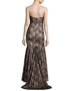 Mandalay Strapless Lace Gown, Black/Nude