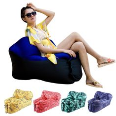 HAKE Inflatable Lounger with Portable Carry Bag for Outdoor and Indoor use (Purp #HAKE