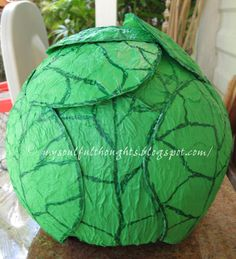 How to Make a Cabbage Paper Mache hat (kiddie costume)