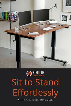 The modern office is evolving, and standing desks are leading the charge. Find the solution that suits you and enjoy the health benefits of a standing desk as you move from sit to stand through the workday. Home Office Design, Home Office Decor, Office Furniture, Office Designs, Home Decor, Office Table, Office Ideas, Sit To Stand, Stand Up Desk