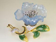 "RARE Vintage Nolan Miller ""Covent Garden"" Blue Lucite Crystal Flower Brooch Pin   eBay"