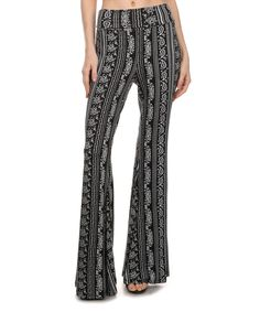 Look what I found on #zulily! Vision Black Paisley-Stripe Palazzo Pants by Vision #zulilyfinds