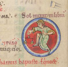 A detail from the twelfth-century English Shaftesbury Psalter showing the zodiacal sign of Libra personified as a leaping man holding the scales that symbolise Libra; (Lansdowne 383 f.7). (British Library)