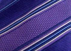 ERMENEGILDO ZEGNA Blue/Purple Striped Woven Silk Satin Neck Tie Made In Italy #ErmenegildoZegna #Tie