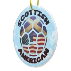 Scottish American Soccer Ball Ornament Christmas Ornaments. For more holiday ornaments, please check out my store: www.zazzle.com/celticana*/ #ChristmasOrnaments #ChristmasDecorations #Zazzle #ScottishAmerican