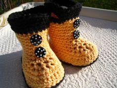 Crochet baby boots baby boots rain boots6 12 by EasyPeasyGrandma, $15.95