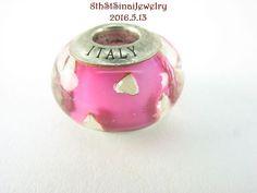 RL European Bead Charm Sterling Silver 925 Pink w/ Silver Hearts Murano Italy #RL #European