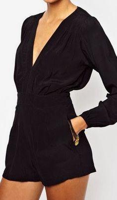 Black Long Sleeves Playsuit