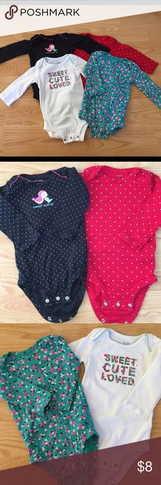 Carter's long sleeved onesies. 4 pieces. Size 9m Long sleeved onesies, snap bottoms set. Size 9 months One Pieces Bodysuits