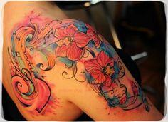 <3 watercolor tattoo