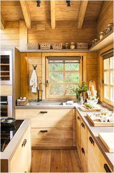 Log Cabin Kitchens, Cottage Kitchens, Rustic Kitchens, Rustic Homes, Modern Kitchens, Rustic Kitchen Design, Interior Design Kitchen, Kitchen Designs, Home Design