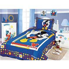 Colcha Solteiro Camesa Patchwork Mickey com 1 P...