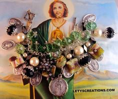Catholic St. Jude Relic, Saints, Religious Medals Handcrafted Charm Bracelet www.letyscreations.com