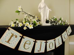 "Easter Decor:  This would be really pretty with a large cross on the mantle with the words ""he has risen"" hung across it :)"