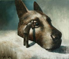 Visual artist Samuli Heimonen The First mirror. Acrylic and oil on canvas. x 2010 Art Studies, Mans Best Friend, Les Oeuvres, Surrealism, Oil On Canvas, Modern Art, Beast, Moose Art, Abstract Art