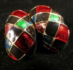 Vintage Earrings Gold Tone Green Red Blue Black Enamel Harlequin | eBay