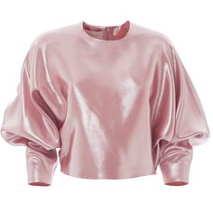 Esme Vie Fresia Blouse ($1,320) ❤ liked on Polyvore featuring tops, blouses, three quarter sleeve tops, 3/4 sleeve tops, puff blouse, pink silk blouse and silk crop top