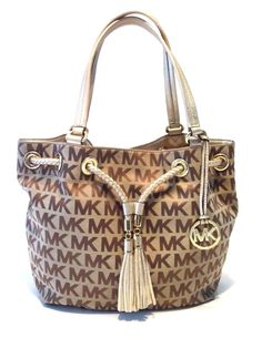 f4be0639c8b2dd Michael Kors Jet Set Large Gathered Signature Canvas Tote Beige Ebony Gold  | eBay