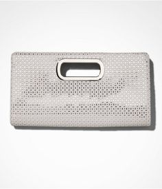 Express Womens Perforated Metallic Cutout Clutch True White, No Size