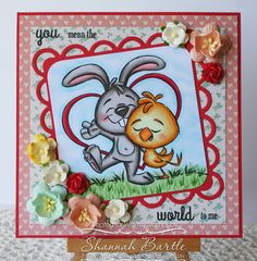 Whimsy Stamps card by Shannah Bartle using  'Friendship Bunny and Chick' from the Krista Heij-Barber Collection and 'Travel 2 - Happy Travels' sentiments.