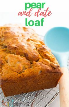 Pear and date loaf, no added sugar and quick and easy to make.  Perfect for freezing in slices.  #kidgredients #kidsfood #pear #date #loaf #baking  via @kidgredients