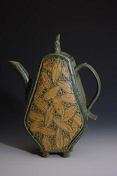 Teapot with Leaves: Jim and Shirl Parmentier: Ceramic Teapot Pottery Teapots, Teapots And Cups, Ceramic Teapots, Ceramic Pottery, Kintsugi, Intelligent Design, Teapots Unique, Tea Art, Chocolate Pots