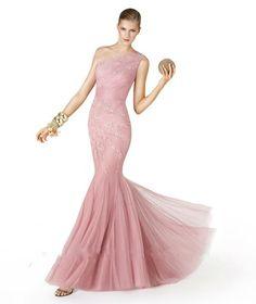 Cheap Appliqued One Shoulder Elegant Light Pink Prom Dress Free Measurement
